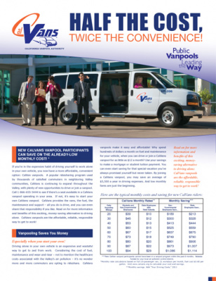 CalVans Flyer with subsidies