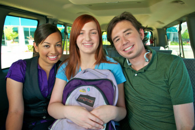 Students in CalVans vehicle
